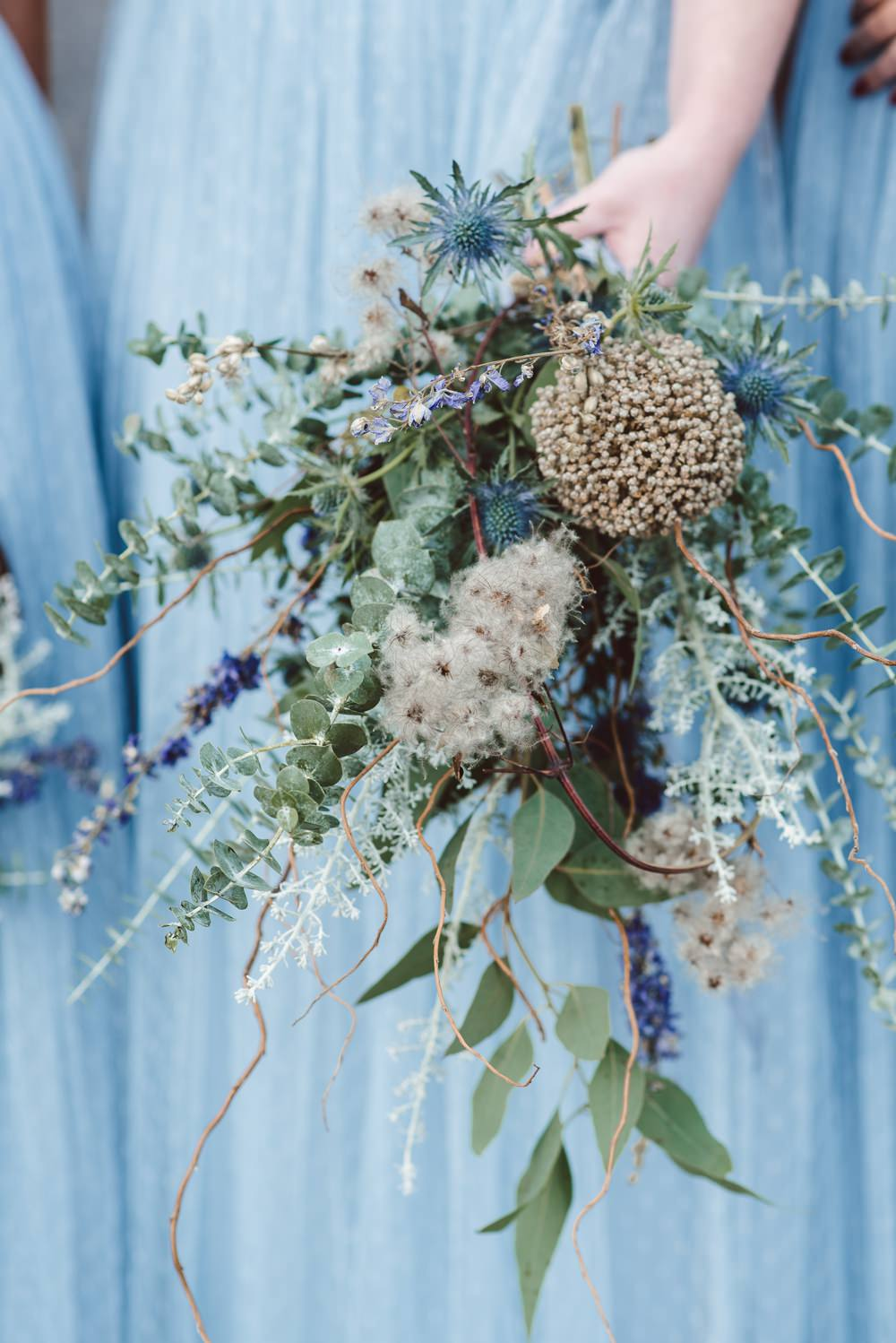 Bridesmaid Bouquet Greenery Foliage Flowers Dried Leek Heads Twisted Willow Rustic Christmas Wedding Ideas Dhw Photography