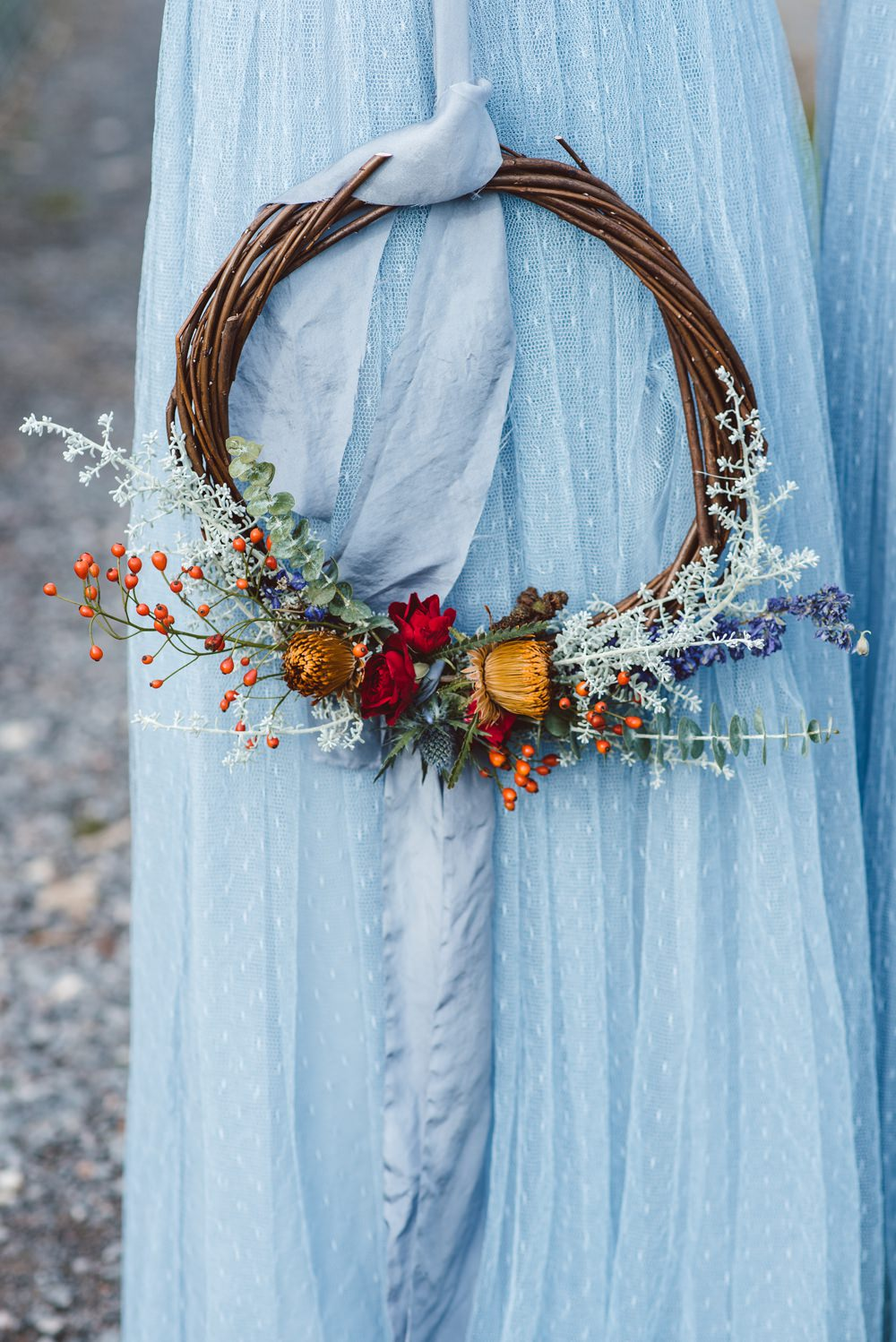 Willow Hoop Flowers Bouquet Bridesmaids Rustic Christmas Wedding Ideas Dhw Photography