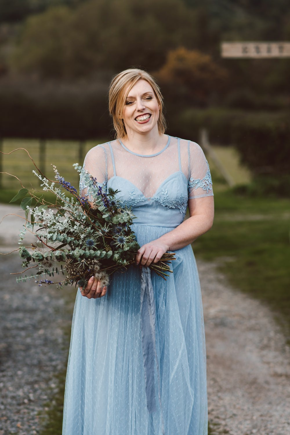 Long Blue Maxi Bridesmaid Dresses Rustic Christmas Wedding Ideas Dhw Photography
