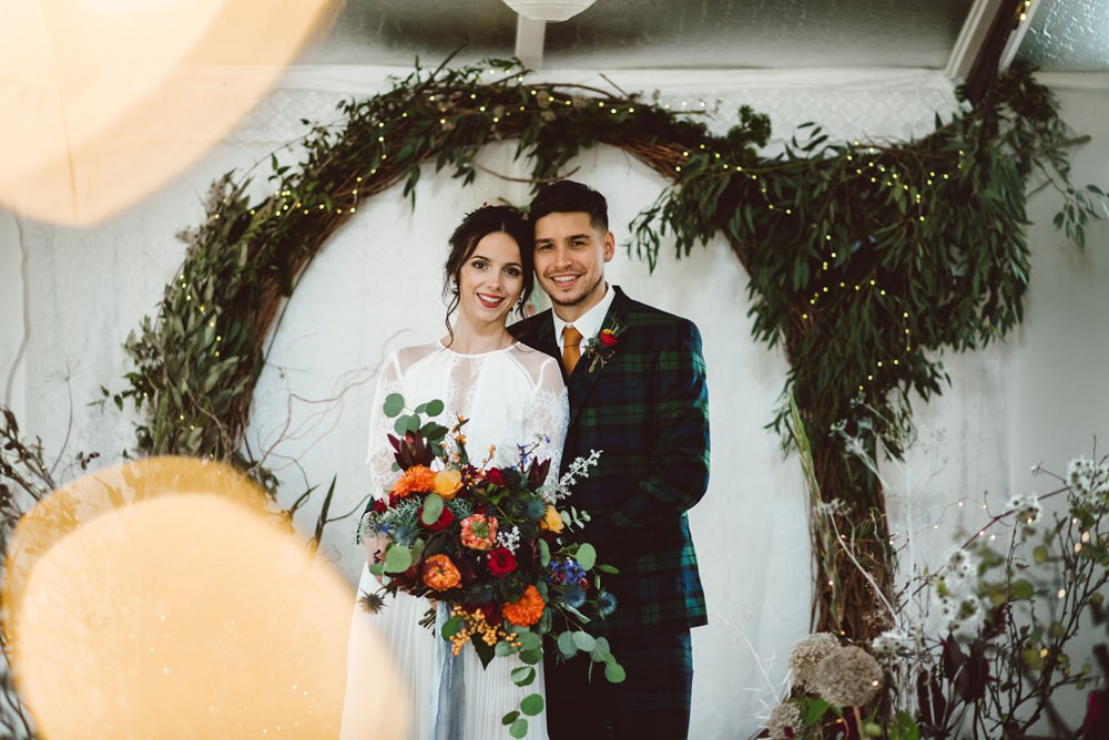 Moongate Flower Arch Backdrop Ceremony Conifer Eucalyptus Greenery Foliage Rustic Christmas Wedding Ideas Dhw Photography