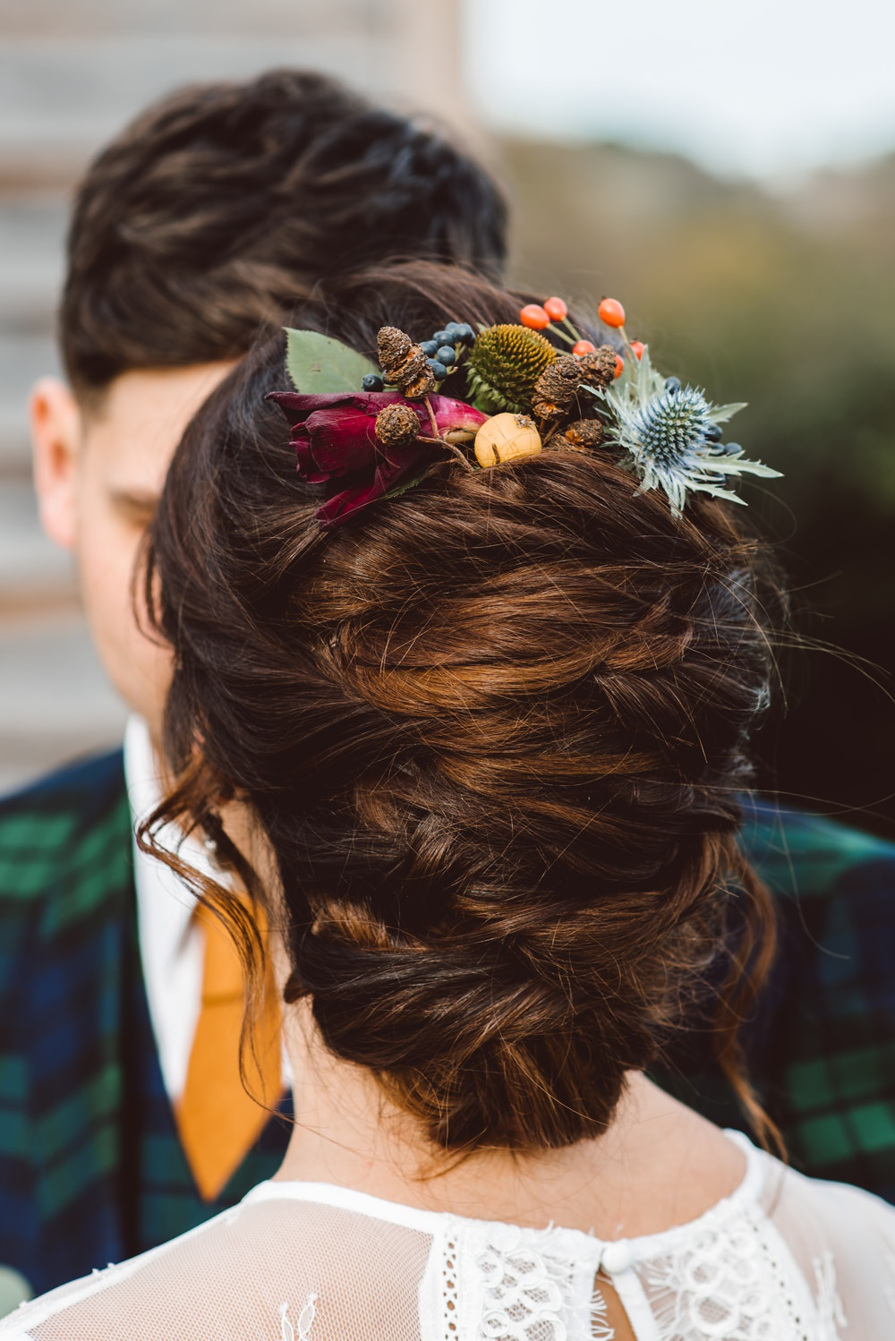 Hair Bride Bridal Up Do Flowers Style Rustic Christmas Wedding Ideas Dhw Photography