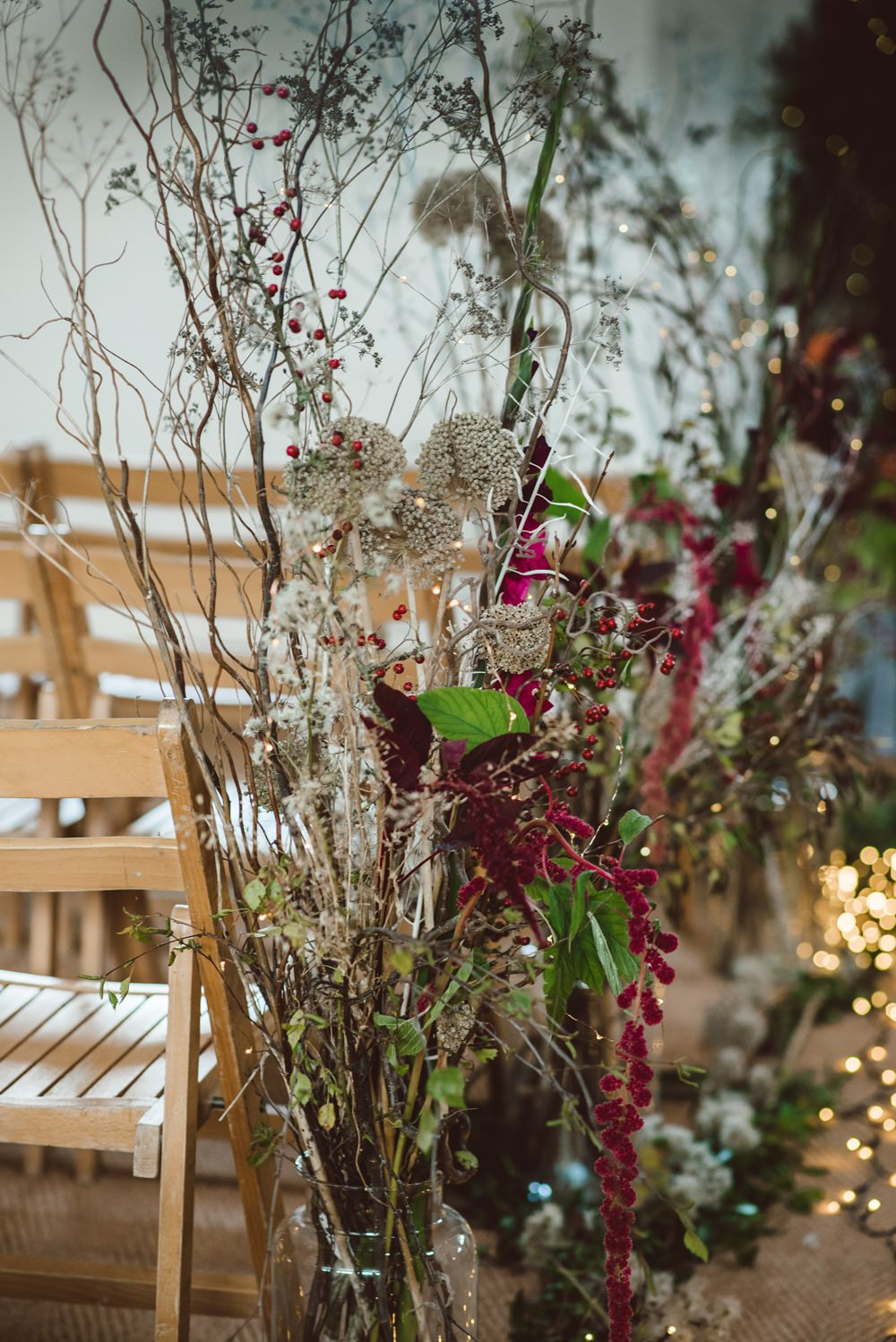 Aisle Flowers Pew Ends Dried Greenery Foliage Jars Rustic Christmas Wedding Ideas Dhw Photography