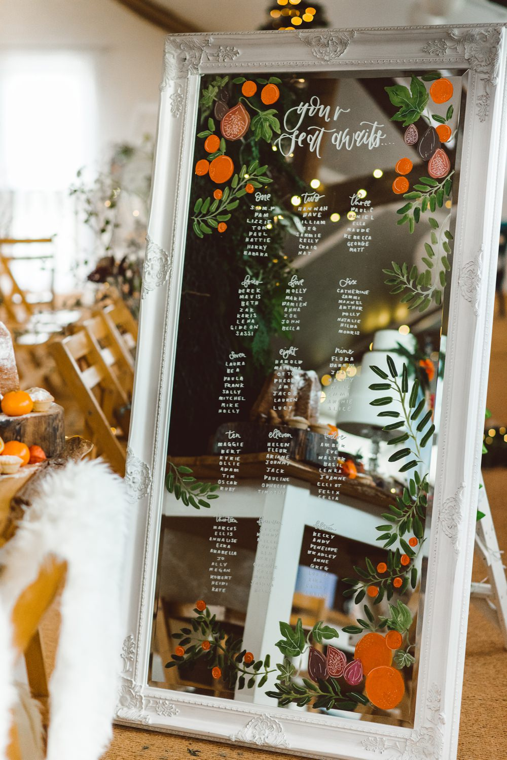 Seating Plan Table Chart Mirror Floral Calligraphy Rustic Christmas Wedding Ideas Dhw Photography
