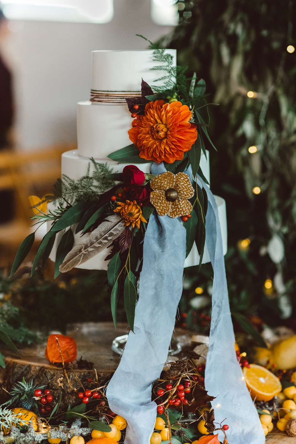 Cake Tier Ribbon Flowers Feathers Table Rustic Christmas Wedding Ideas Dhw Photography