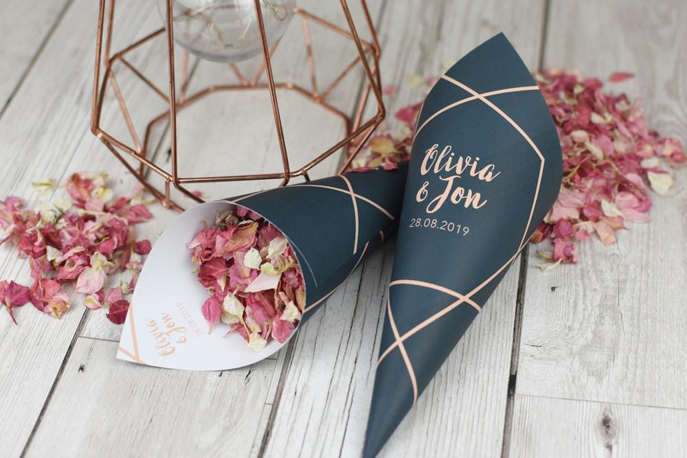 ShropshirePetals Personalised Cone Geometric theme with Blush Confetti