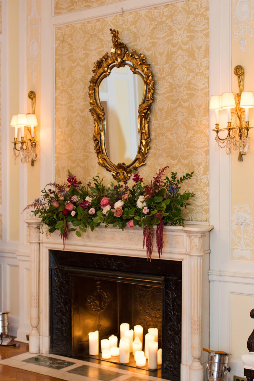 Fireplace Flowers Candles Mantlepiece Stotesbury Mansion Wedding Mariya Stecklair Photography