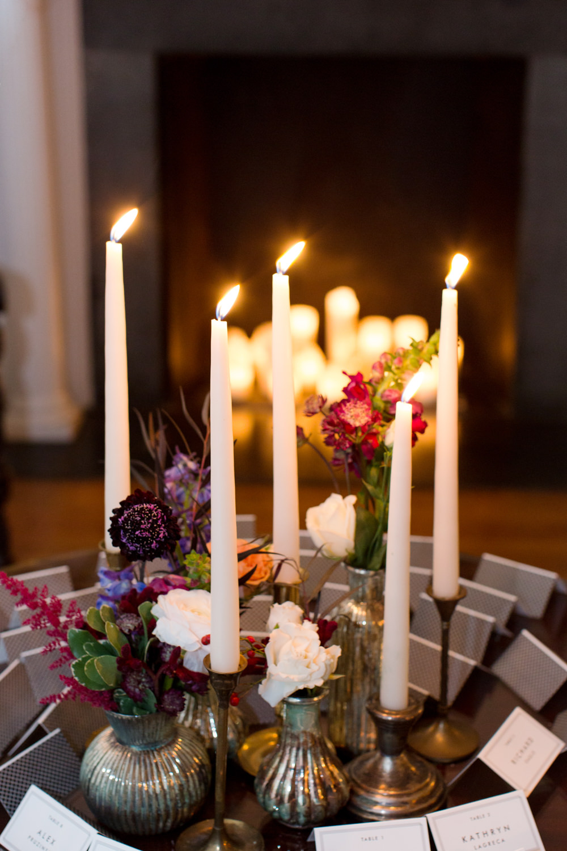 Candles Flowers Decor Stotesbury Mansion Wedding Mariya Stecklair Photography