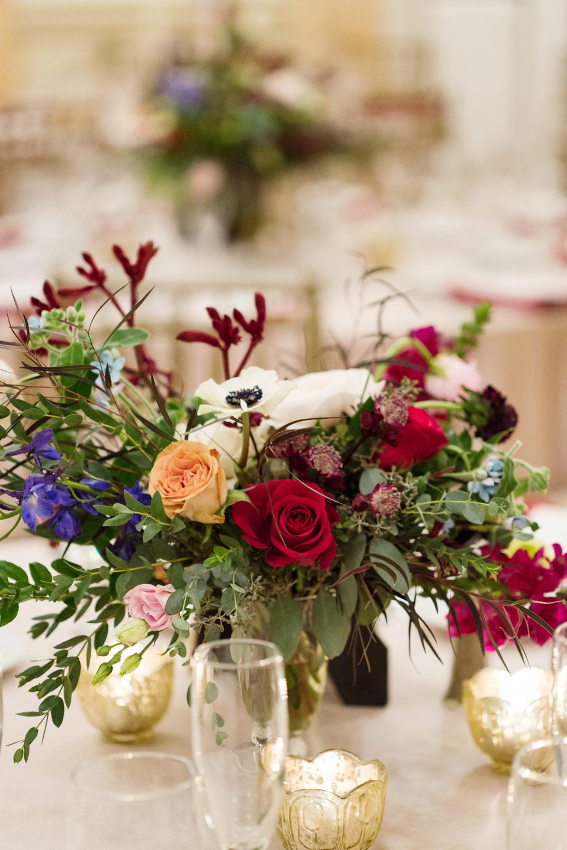 Centrepiece Flowers Greenery Foliage Red Pink Candles Stotesbury Mansion Wedding Mariya Stecklair Photography