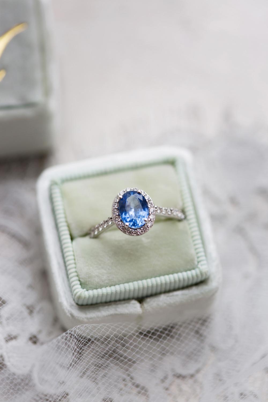 Blue Sapphire Solitaire Engagement Ring Halo Velvet Ring Box Stotesbury Mansion Wedding Mariya Stecklair Photography
