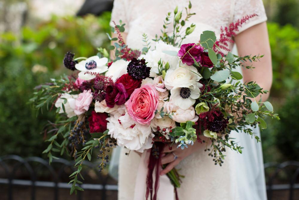 Bouquet Flowers Brida Bridal Red Pink Cream Ribbons Rose Peony Stotesbury Mansion Wedding Mariya Stecklair Photography