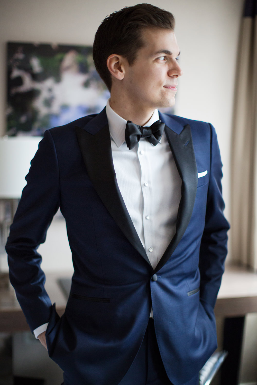 Groom Suit Jacket Navy Bow Tie Stotesbury Mansion Wedding Mariya Stecklair Photography