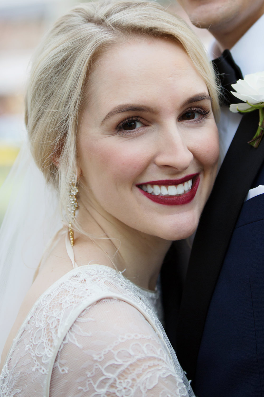 Bride Bridal Make Up Red Lipstick Stotesbury Mansion Wedding Mariya Stecklair Photography