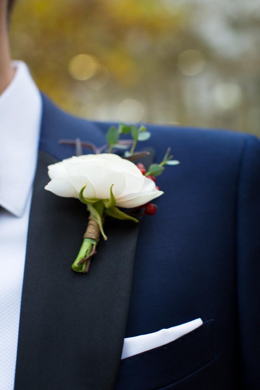 Groom Suit Jacket Navy Bow Tie Rose Buttonhole Stotesbury Mansion Wedding Mariya Stecklair Photography
