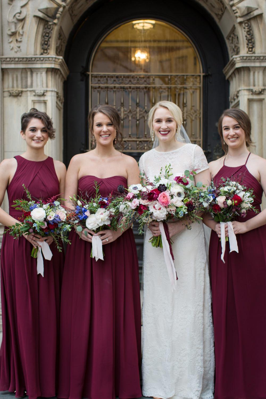 Long Burgundy Bridesmaid Dresses Maxi Stotesbury Mansion Wedding Mariya Stecklair Photography