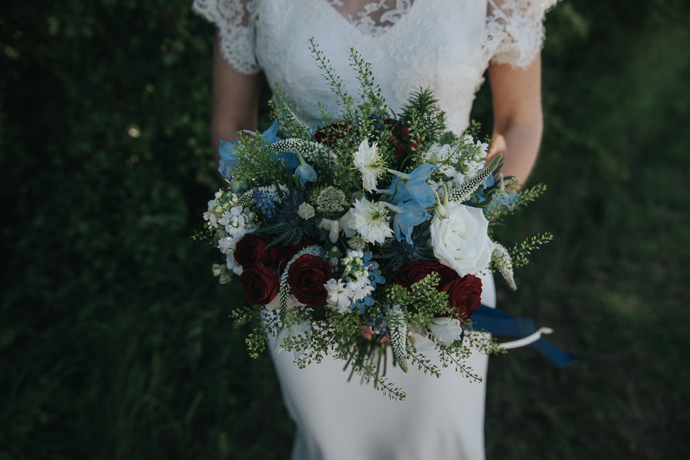Bride Bridal Bouquet Stocks White Rose Blue Red Flowers Navy Ribbon Strawberry Barn Wedding Jen Owens Images