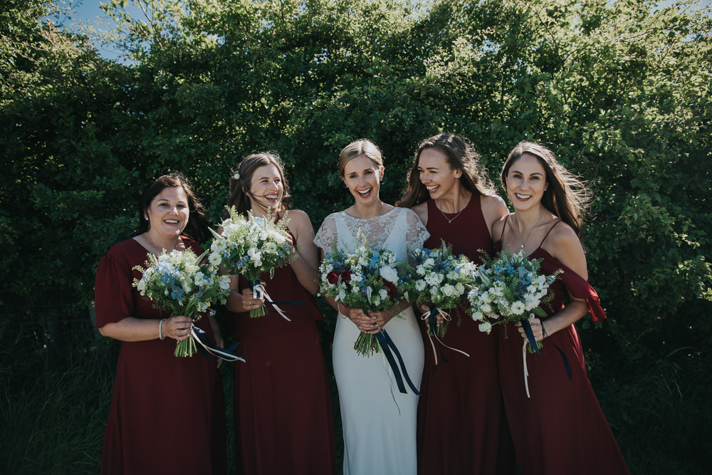 Bride Bridal Fitted Dress Silk Lace Overlay Rewritten Masala Red Bridesmaids Burgundy Bouquets Strawberry Barn Wedding Jen Owens Images