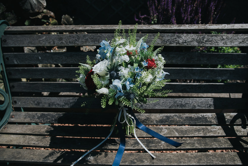 Bride Bridal Bouquet Blue Red Stocks Ribbon Strawberry Barn Wedding Jen Owens Images