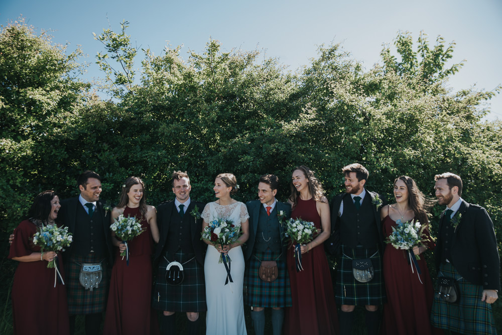 Bride Bridal Fitted Dress Silk Lace Overlay Kilt Groom Masala Red Bridesmaids Burgundy Strawberry Barn Wedding Jen Owens Images