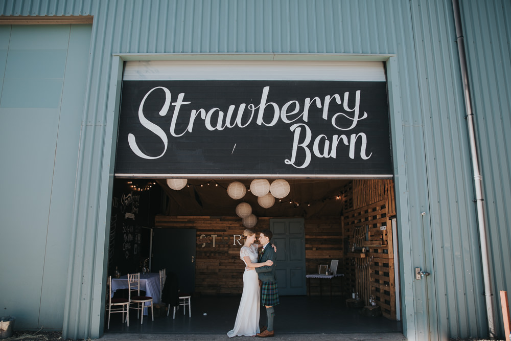 Bride Bridal Fitted Dress Silk Lace Overlay Kilt Groom Strawberry Barn Wedding Jen Owens Images