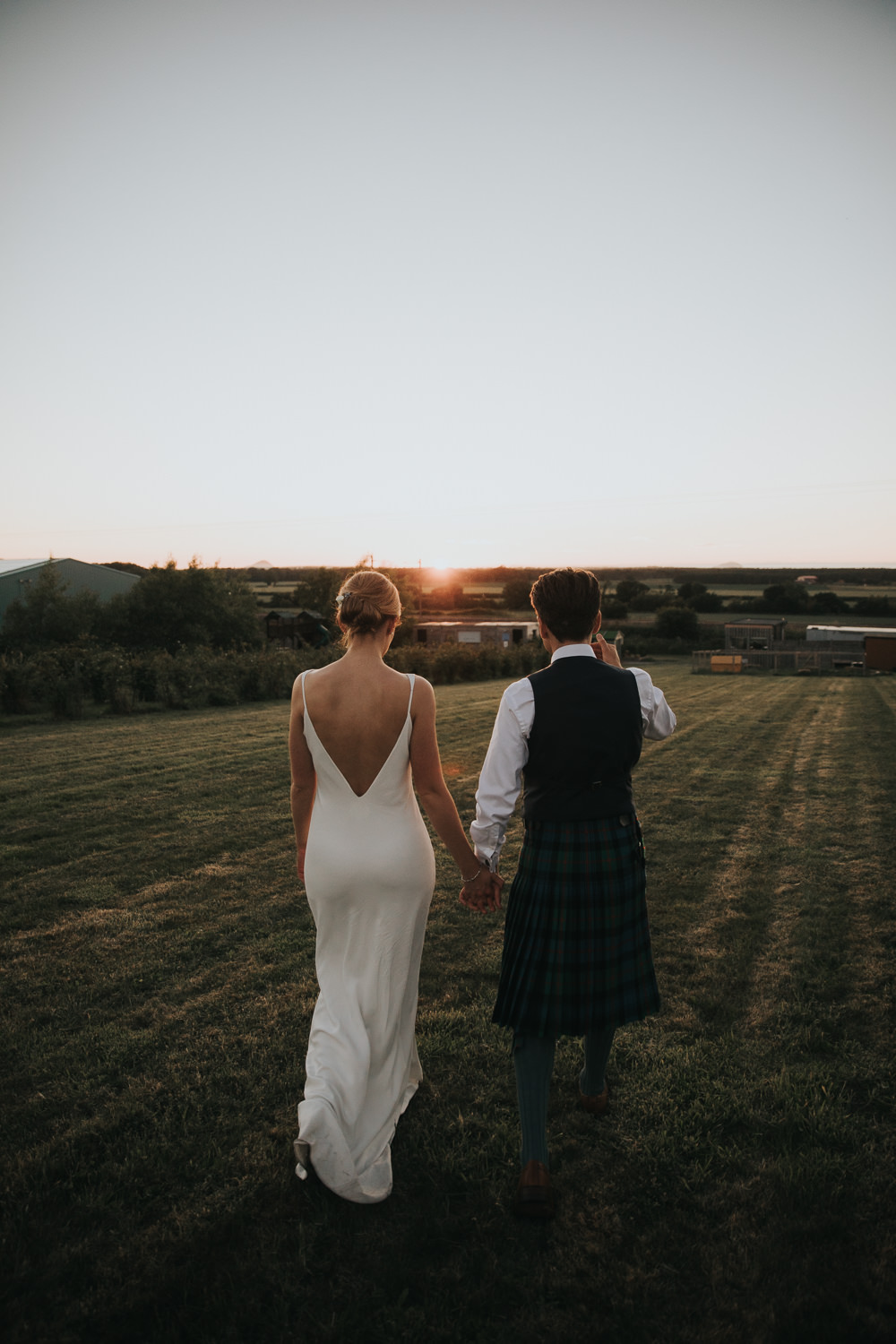 Bride Bridal Fitted Dress Silk Low Back Strappy Kilt Groom Strawberry Barn Wedding Jen Owens Images