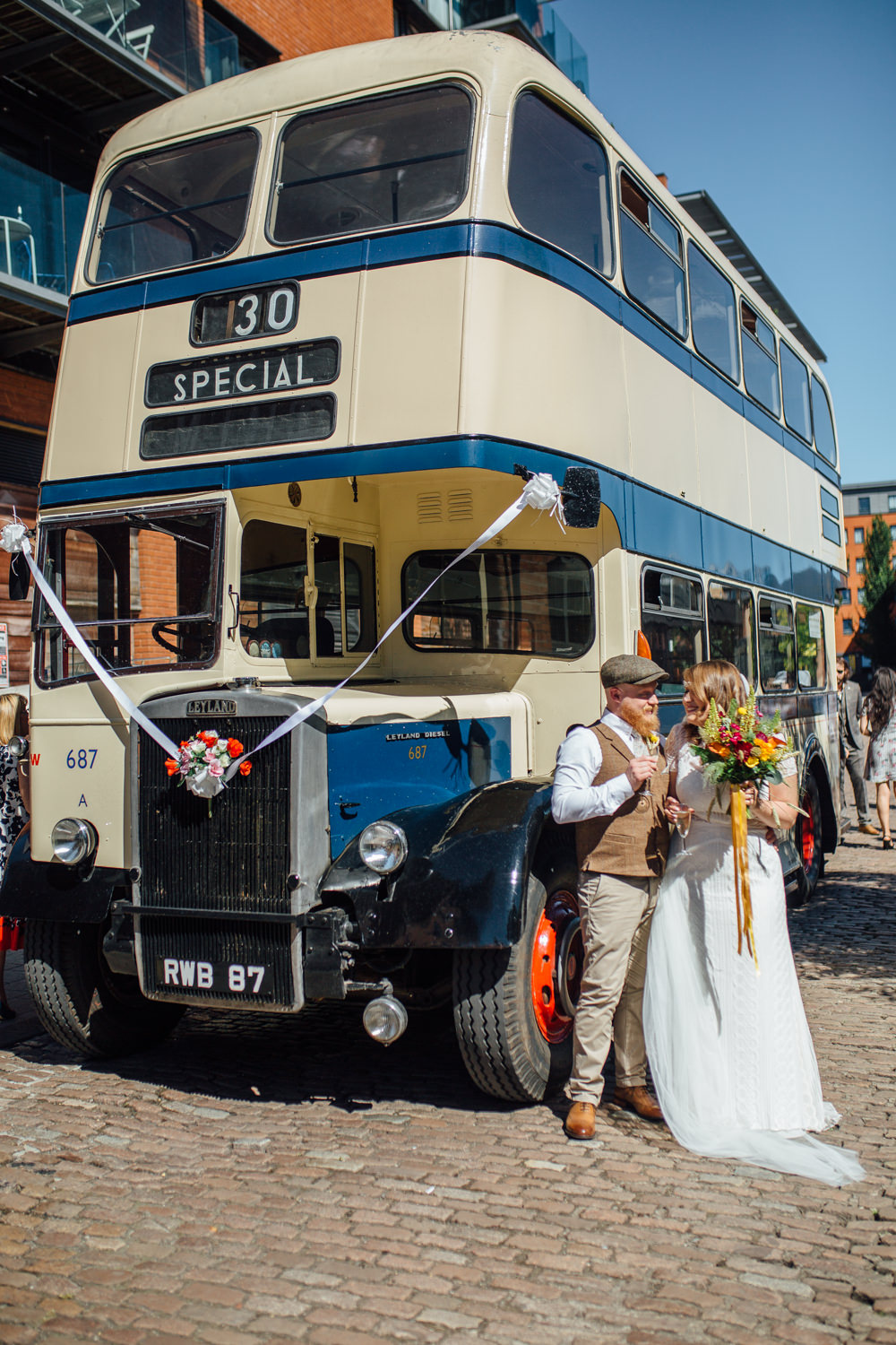 Vintage Bus Transport Special The Chimney House Wedding Ellie Grace Photography