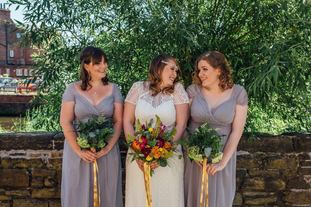 Bride Bridal High Neck Short Sleeve Lace Dress Crystal Headband Headpiece Sweetheart Neckline Slate Grey Bridesmaids Multicoloured Bouquet Ribbon The Chimney House Wedding Ellie Grace Photography
