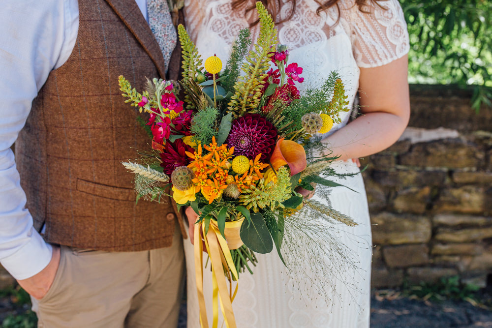Bride Bridal Bouquet Multicoloured Dahlia Corn Yellow Ribbon The Chimney House Wedding Ellie Grace Photography