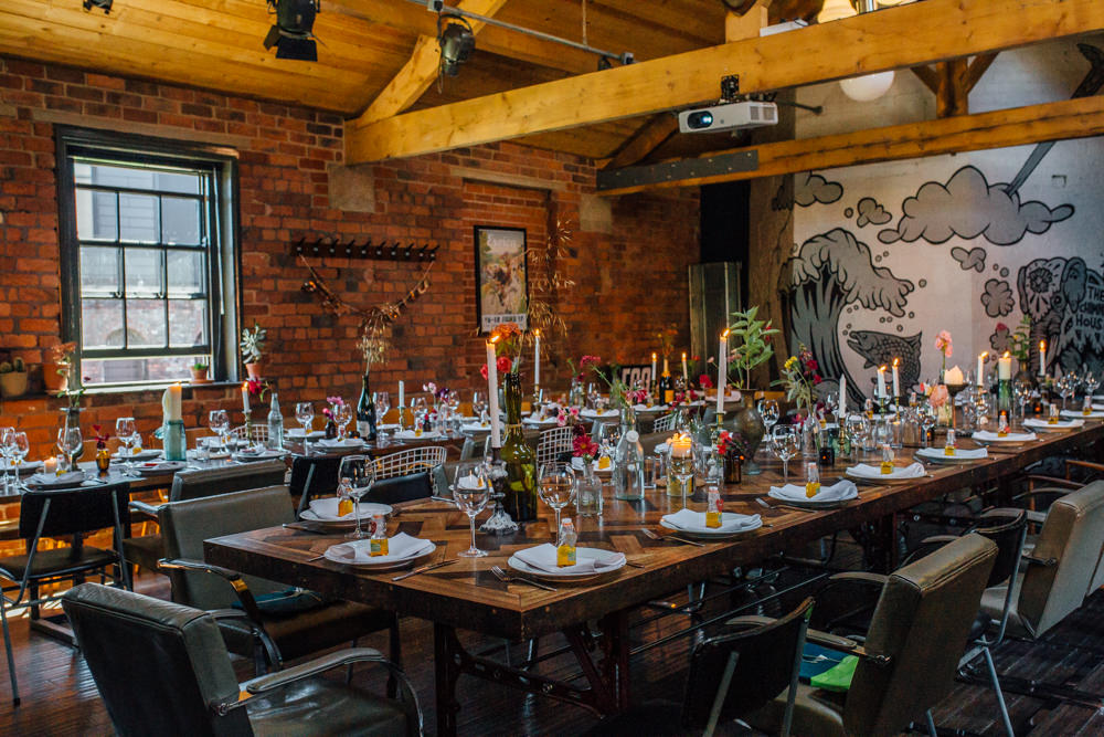 Industrial Dining Reception The Chimney House Wedding Ellie Grace Photography