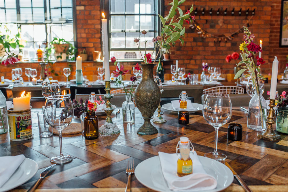 Industrial Parquet Table Tin Candle Bud Vases The Chimney House Wedding Ellie Grace Photography