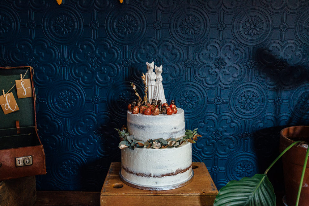 Buttercream Cake Gold Strawberries Fantastic Mr Fox Cake Toppers The Chimney House Wedding Ellie Grace Photography