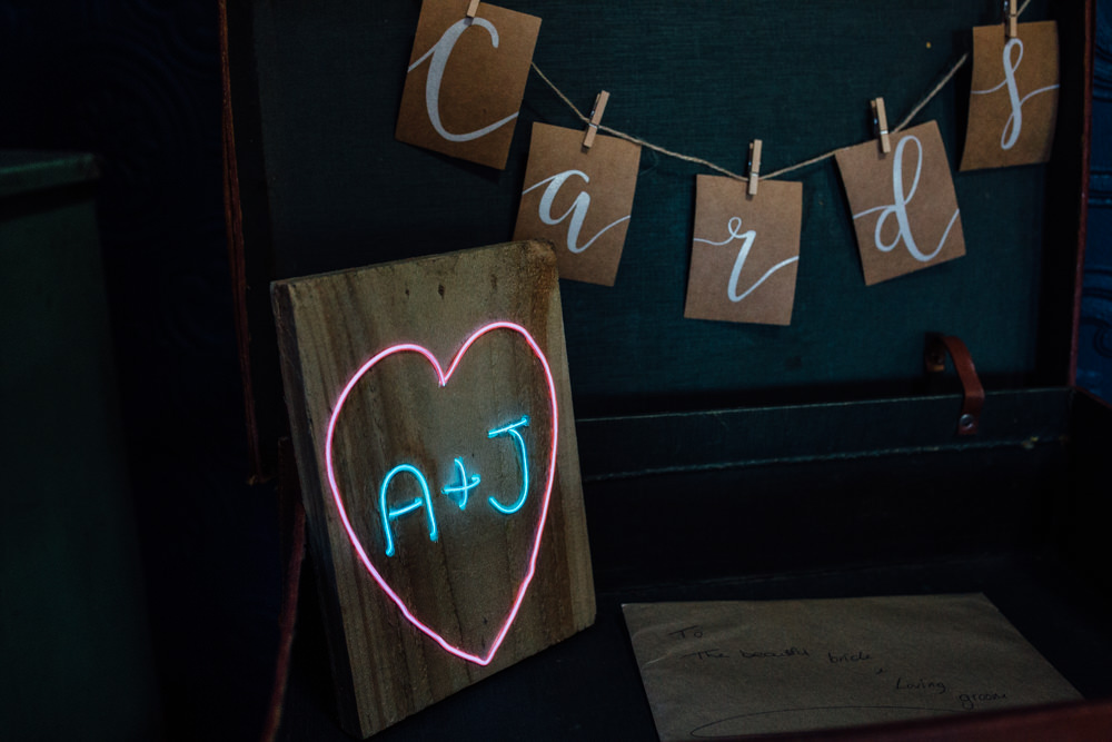 Neon Sign Initials Cards Twine Pegs The Chimney House Wedding Ellie Grace Photography
