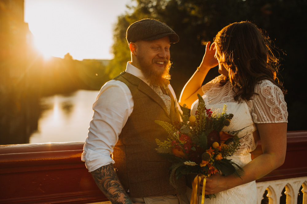 Bride Bridal High Neck Short Sleeve Lace Dress Crystal Headband Headpiece Sweetheart Neckline Waistcoat Tweed Chinos Flat Cap Multicoloured Bouquet Ribbon The Chimney House Wedding Ellie Grace Photography