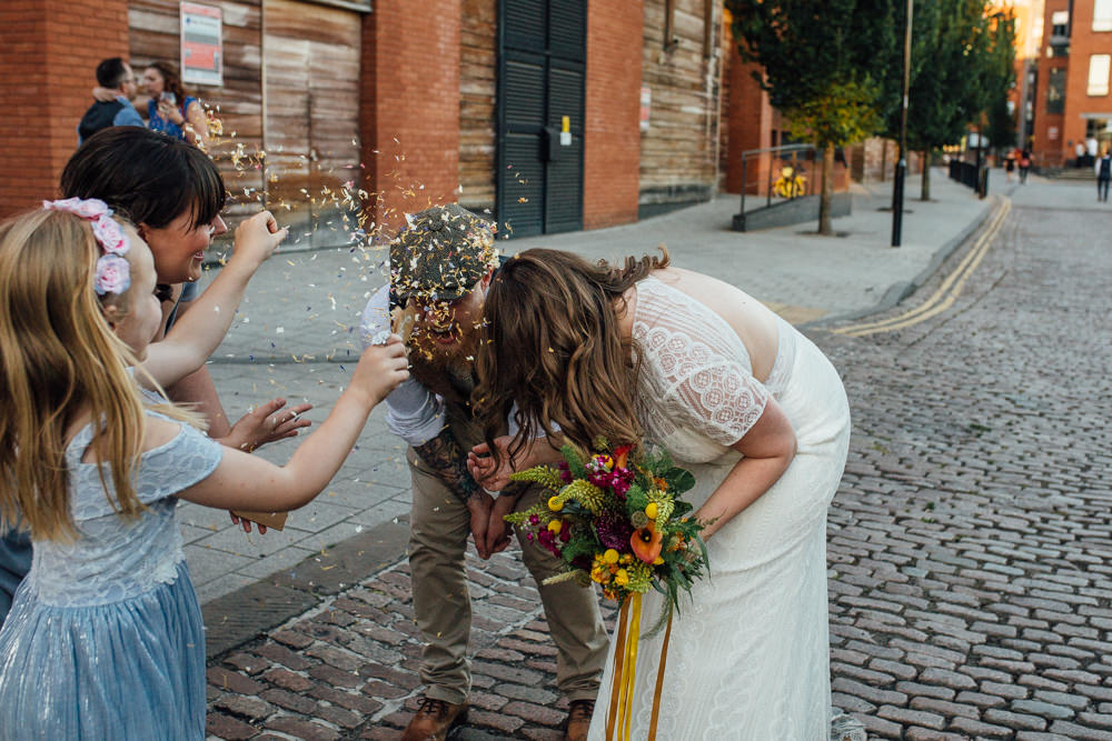 Bride Bridal High Neck Short Sleeve Lace Dress Crystal Headband Headpiece Sweetheart Neckline Waistcoat Tweed Chinos Flat Cap Multicoloured Bouquet Ribbon Confetti The Chimney House Wedding Ellie Grace Photography