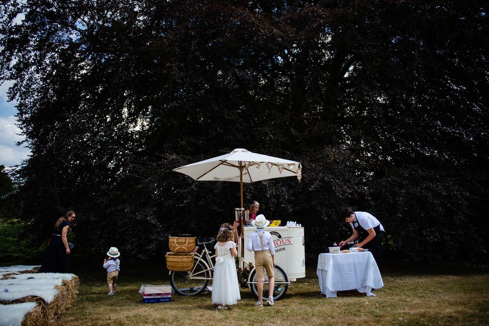 Ice Cream Cart West Lexham Wedding James Powell Photography