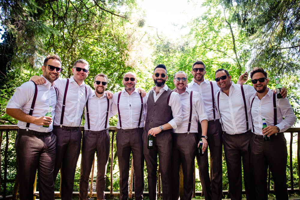 Groom Groomsmen Braces Tweed Trousers Waistcoat West Lexham Wedding James Powell Photography