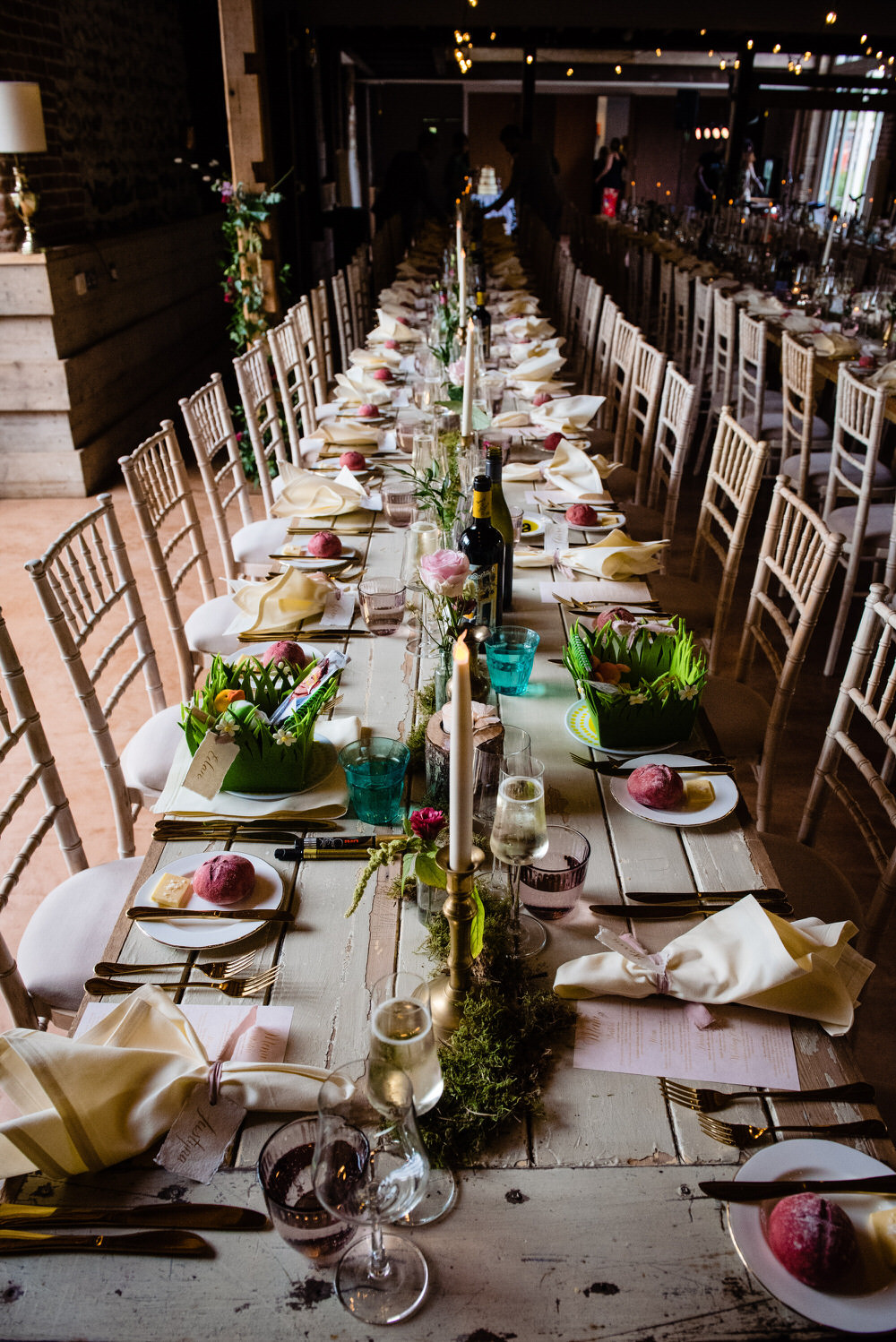 Long Tables Decor Candles Flowers West Lexham Wedding James Powell Photography