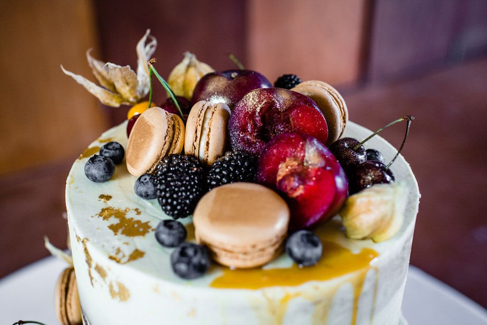 Cake Semi Naked Drio Fruit Macaron Gold Leaf Topper West Lexham Wedding James Powell Photography