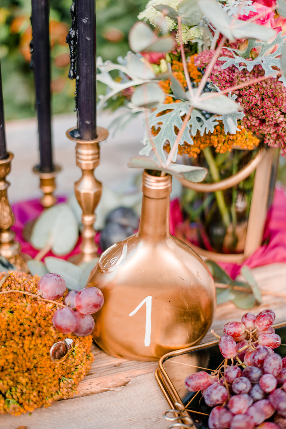 Gold Copper Bottle Table Name Autumnal Fairytale Wedding Ideas Miriam Peuser Photography