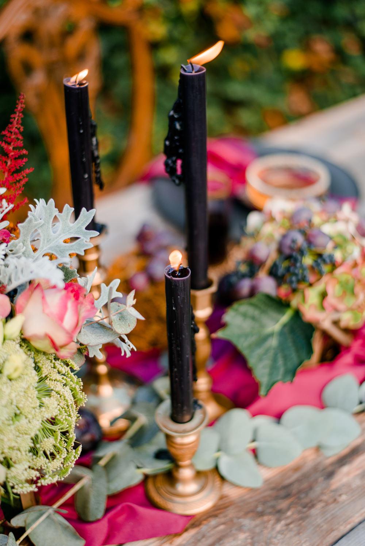 Dark Deep Purple Candle Sticks Autumnal Fairytale Wedding Ideas Miriam Peuser Photography