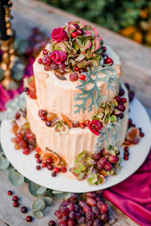Cake Butttercream Fruit Flowers Autumnal Fairytale Wedding Ideas Miriam Peuser Photography