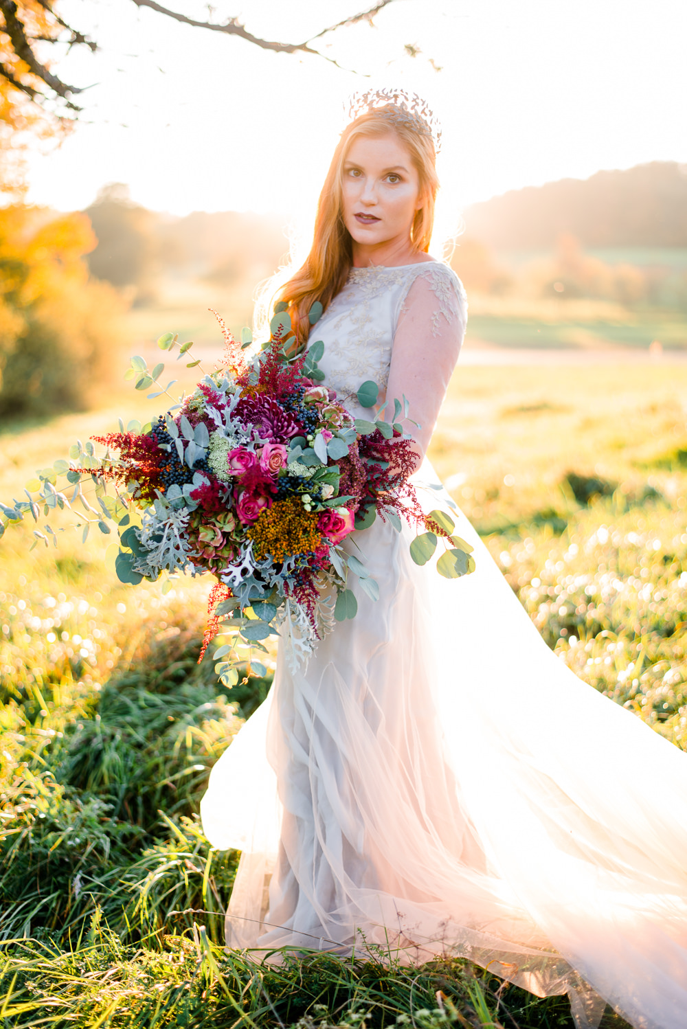 Dress Gown Bride Bridal Sleeves Sheer Lace Tulle Skirt Train Autumnal Fairytale Wedding Ideas Miriam Peuser Photography