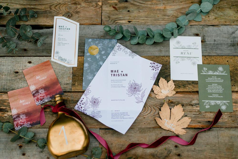 Stationery Invites Invitations Autumnal Fairytale Wedding Ideas Miriam Peuser Photography