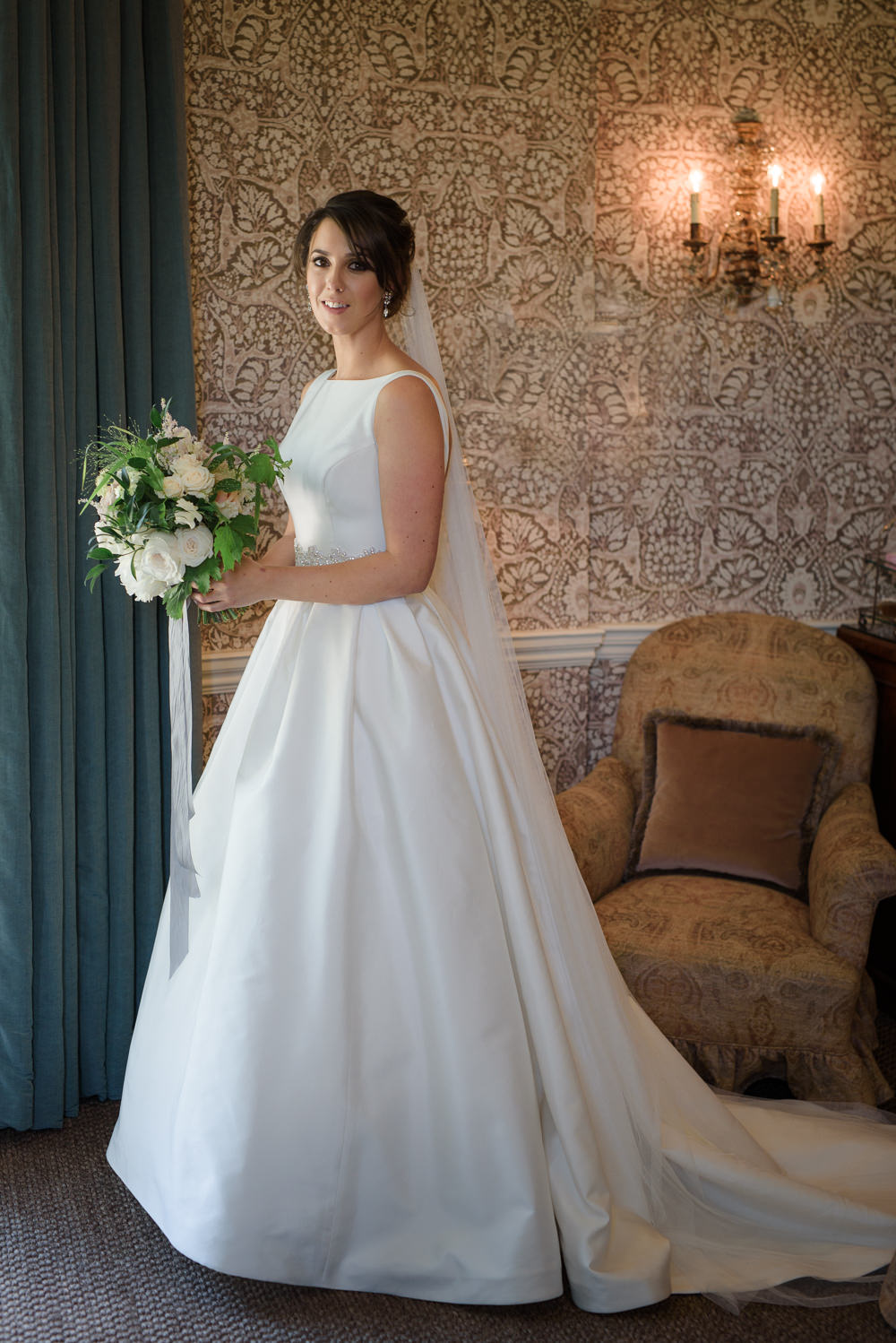 Bride Bridal A Line Dress Straps Sleeveless Silk Veil Babington House Wedding Ria Mishaal Photography