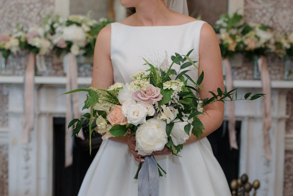 Bride Bridal Bouquet Boat Neck Dress Babington House Wedding Ria Mishaal Photography