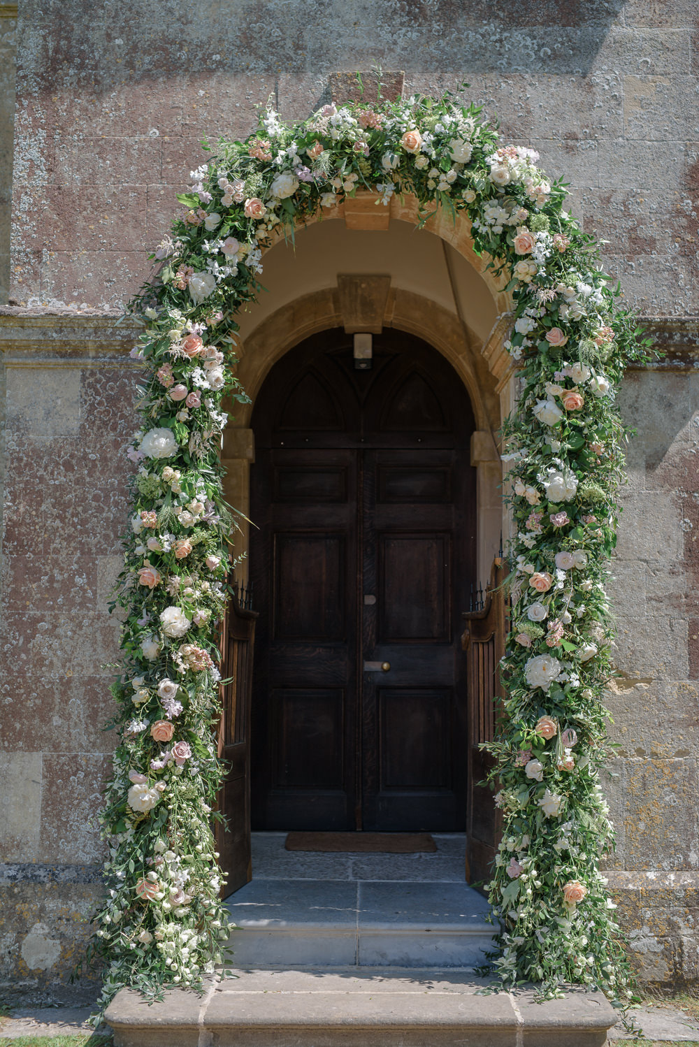 Flowers Floral Archway Entrance Babington House Wedding Ria Mishaal Photography