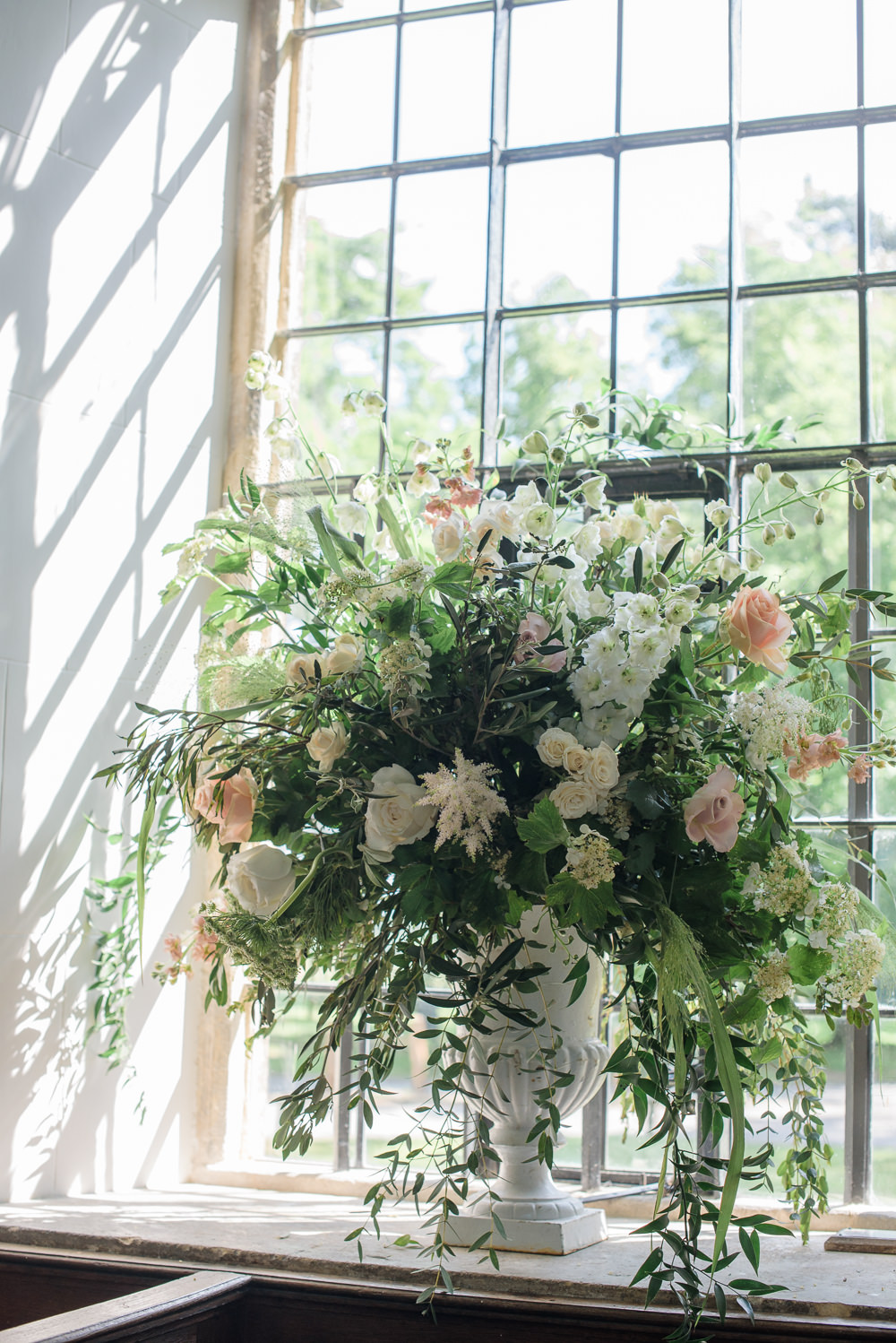 Flowers Floral Urn Pink Blush White Greenery Foliage Babington House Wedding Ria Mishaal Photography
