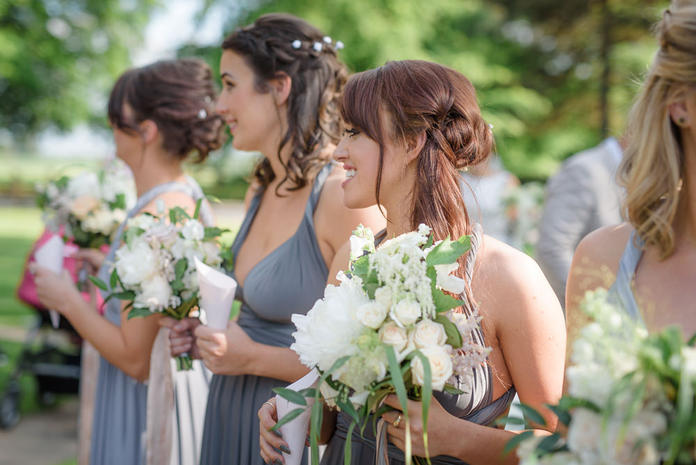 Multiway Bridesmaids Platinum Grey Blue Bouquet White Bouquet Babington House Wedding Ria Mishaal Photography