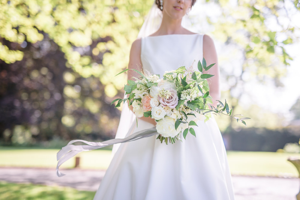 Bride Bridal A Line Dress Straps Sleeveless Silk Boat Neck Veil Silk Ribbon Bouquet Babington House Wedding Ria Mishaal Photography