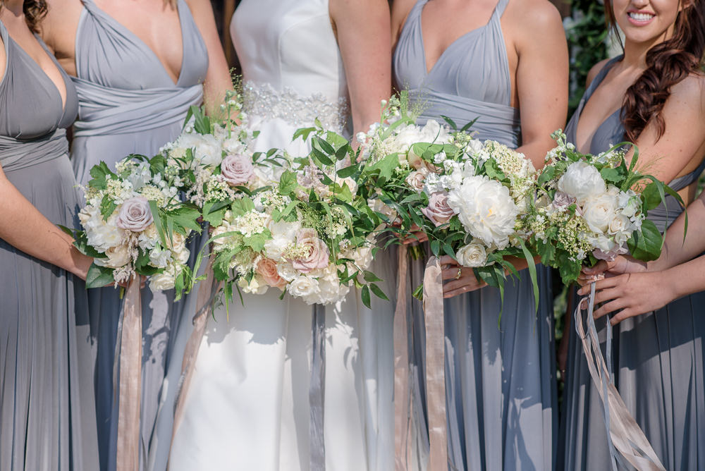 Bride Bridal Bridesmaids Bouquet Pink Blush White Roses Silk Ribbon Babington House Wedding Ria Mishaal Photography