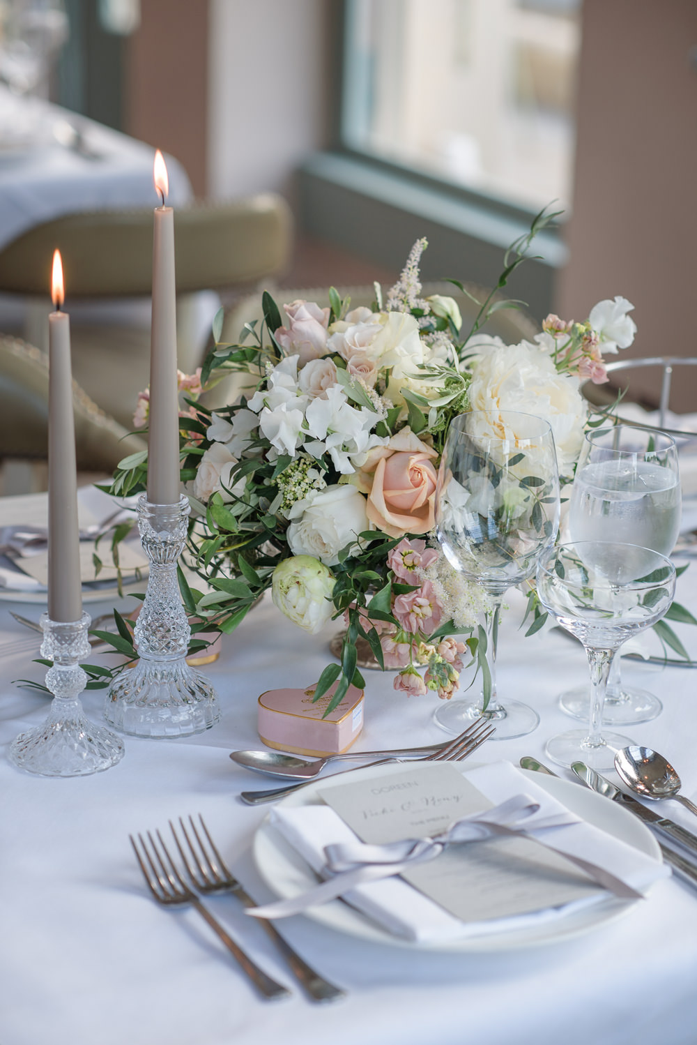 Crystal Candlestick Flowers Floral Blush Peach Cream Table Setting Babington House Wedding Ria Mishaal Photography